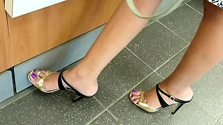 Foot fetish and ass screwing in public toilet