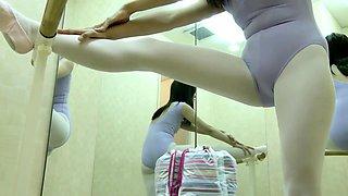 Naughty voyeur finds a cute Asian ballerina with a perky ass