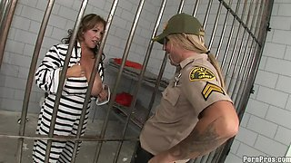 Busty prisoner gets nailed by her hung prison guard