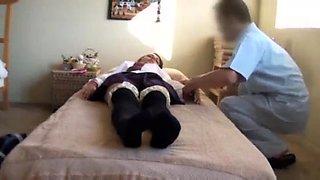 Petite brunette teen has a masseur drilling her tight cunt