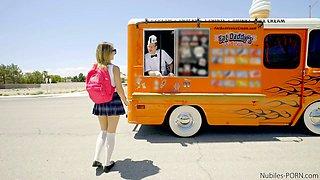 Poor student Carmen Callaway is fucked by horny ice cream seller