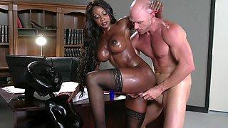 Amazing ebony darling gets rammed so hard by a white stallion