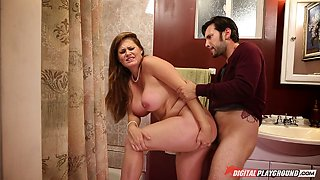 Chubby babe allows the horny guy to drill her in the doggy position