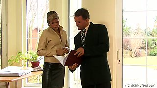 Alluring brunette managers gets seduced by her boss