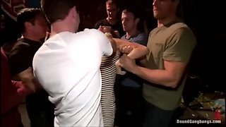 Part 1 of 4 beautiful brunette babe forced gangbang at a party. abused &amp covered in cum!