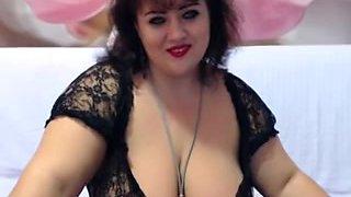 Cute BBW strips on a webcam show