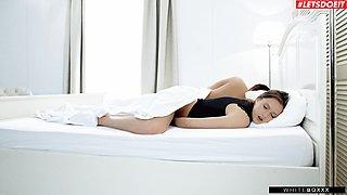 Horny cutie Stacy Cruz pleasures her cravings next to her sleeping hubby
