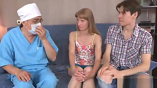 Doctor assists with hymen physical and defloration of virgin cutie