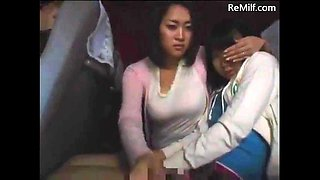 Japanese mom and her daughter blowjob for strangers on midnight bus