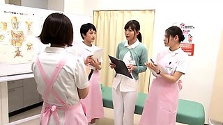 Lustful Japanese nurses satisfying their hunger for cock