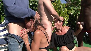 Nude women are enduring young inches during back yard orgy