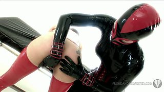 Kinky mistress in latex outfit makes use of different sex toys to punish submissive