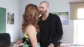 Having seduced her tutor bootyful Leah Gotti starts riding his cock