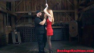 Bdsm sub dominated with enema and bondage