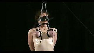 Blindfolded Breast Bondage