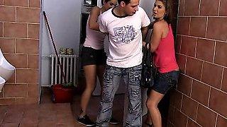 Czech teens Kiki and Sandra piss and then punish a voyeur