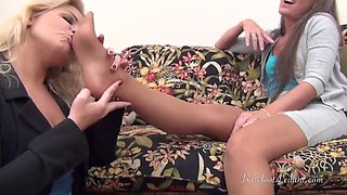 Milf boss makes young blonde worship nylon feet