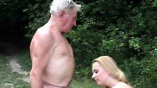 Natural huge titted slut fucks grandpa in the woods