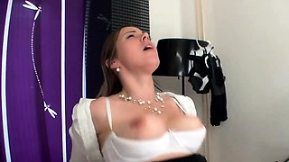 Cute and sexy housewife gives a wonderful blowjob to a