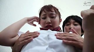 Stacked Japanese schoolgirl enjoying a hot ride of fucking