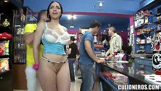 Marta La Croft forced to suck cock in public
