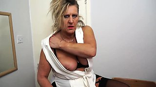 Blonde old maid masturbating in stockings