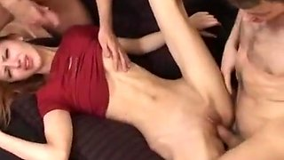 Russian girl forced by 2 guys