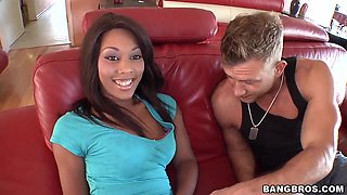 Beautiful Ebony with tight ass attacks huge white dick with her mouth during her casting