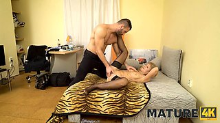 MATURE4K. Woman is old but still wants to fuck so boss stepson helps her