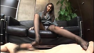 Sensual Asian babe in pantyhose is in need of a hard fucking