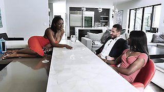 Black babes threesome to a white stud