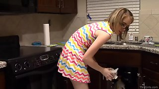 Teen cleans and flashes her panties