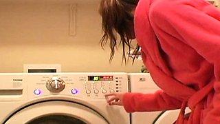 Young Diana teasing herself on new washing machine