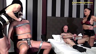 Miss Roxxy and Carmen Rivera adore hard orgy with their friends