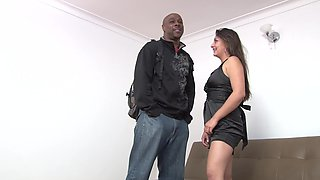 Curvy Latina in a little black dress fucked by big ebony cock