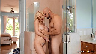 busty milf gets fucked in the shower
