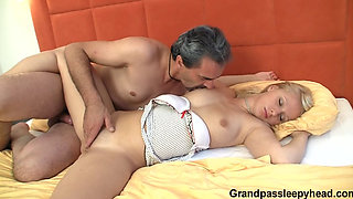 Blonde fucked while sleeping