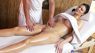 Erotic massage leads busty brunette to insane fuck moments