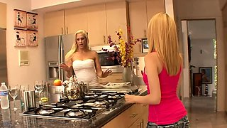 Blonde teen lesbian and milf stepmother