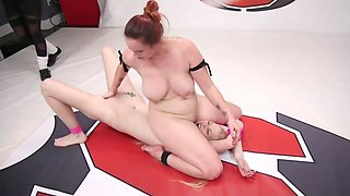 Babe with skinny body has no choice and obeys wrestler