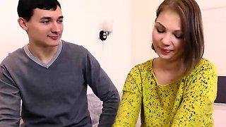 Cute Galina Kabachok is interviewed before defloration
