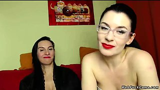 Lesbians fondling on private webcam show