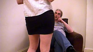 Spanked on black short skirt then on cheeks with panties between. Ending by tears