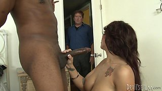 Lylith Lavey is fucked by a monster black cock as her man watches