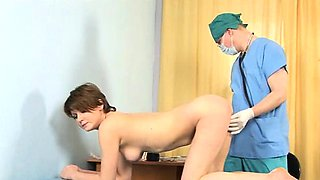 Young lady examined by doctor
