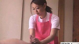 Subtitled CFNM Japanese caregiver elderly man handjob