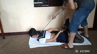 Cute chinese girl handcuff bondage school uniform