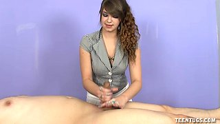 Curly hair brunette Pocahontas Jones sucks a dick of her client