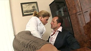 Bitchy secretary with big tits Brooklyn Lee hooks up with her boss