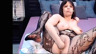 Brunette smoking  fisting  squirting